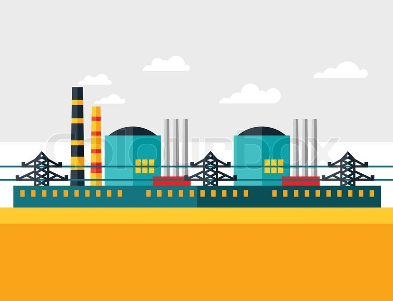 Illustration Of Industrial Nuclear Power Plant In Flat