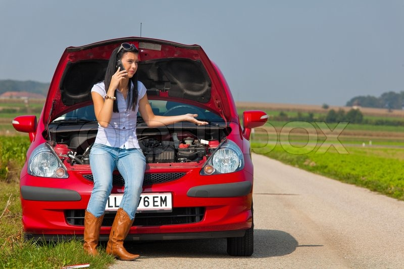 Young woman in her car breaks down. engine failure   Stock Photo ...