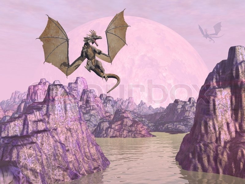 two dragons flying upon rocks in pink color background 3d render