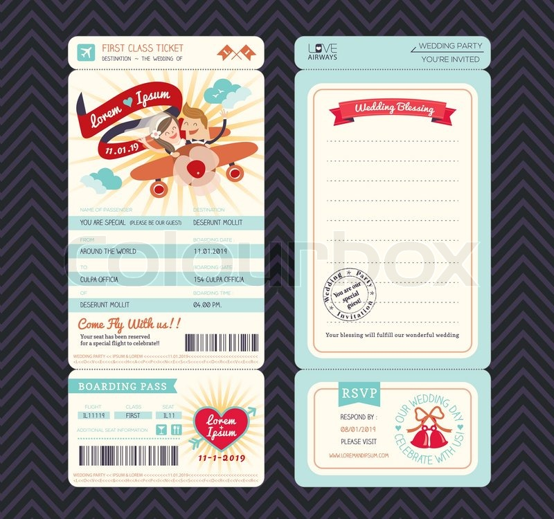 Cartoon Boarding Pass Ticket Hochzeit Vektorgrafik Colourbox