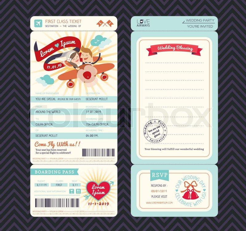 Bordkarte-Hochzeits- Einladungs-Schablone | Vektorgrafik | Colourbox