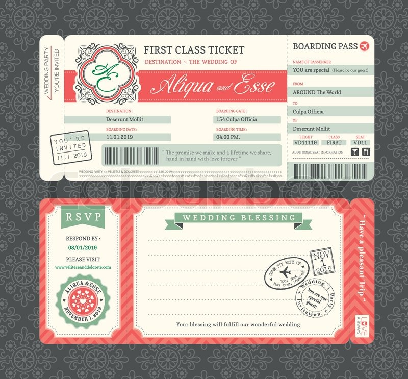 vintage boarding pass ticket wedding invitation template stock vector colourbox. Black Bedroom Furniture Sets. Home Design Ideas