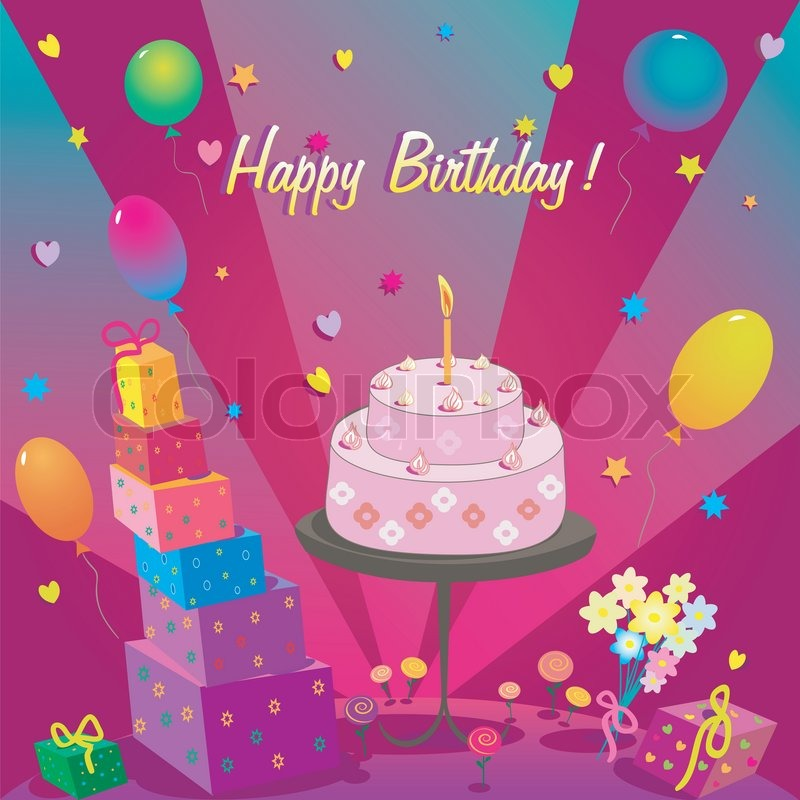Template For Happy Birthday Card With Cake And Ballonlustration