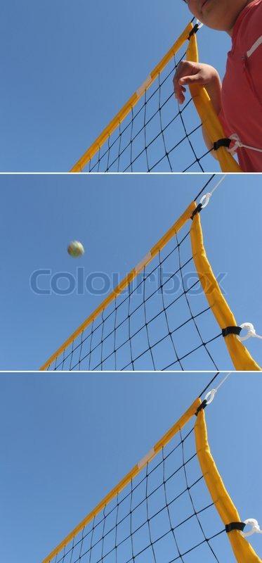 Volley ball in Danish public school, stock photo