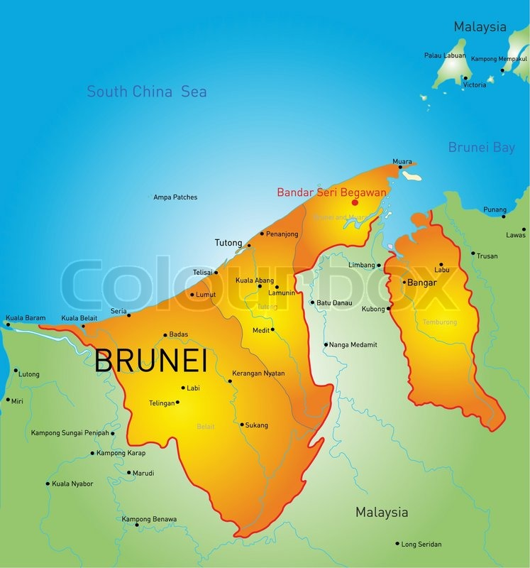 Vector color map of Brunei country Stock Vector Colourbox
