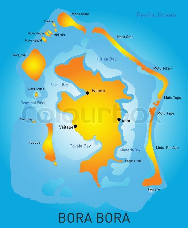 Vector Color Map Of Bora Bora Stock Vector Colourbox