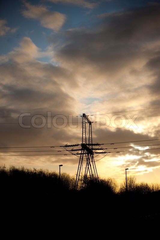 High voltage electric lines in Denmark, stock photo