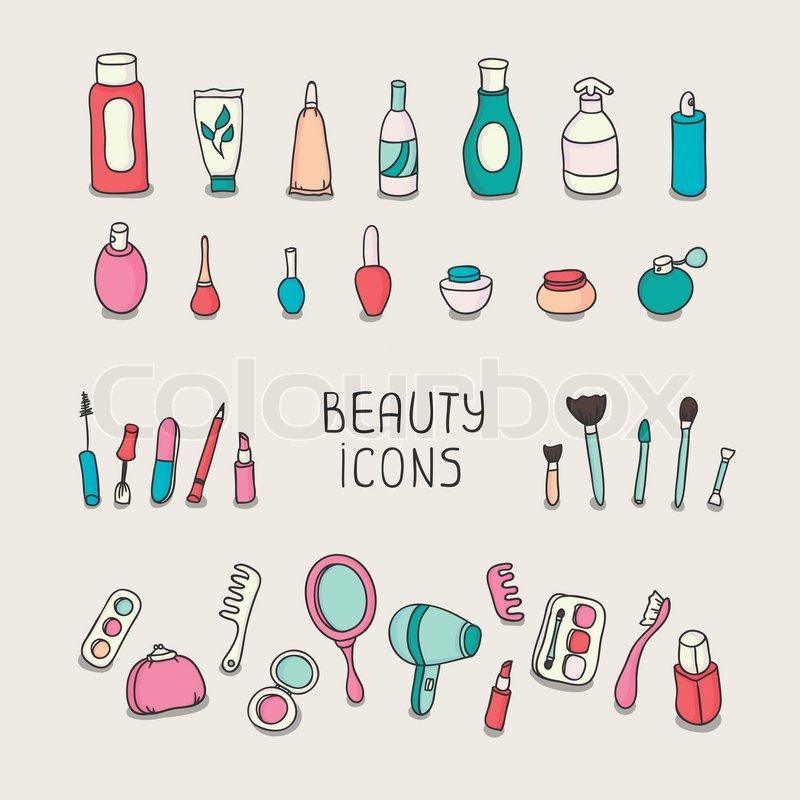 Set Of Vintage Cosmetics Elements And Beauty Products Icons Makeup Beautiful Vector Illustration