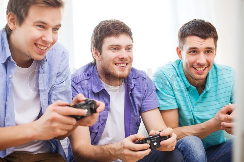 Friendship, technology, games and home ... | Stock Photo ...