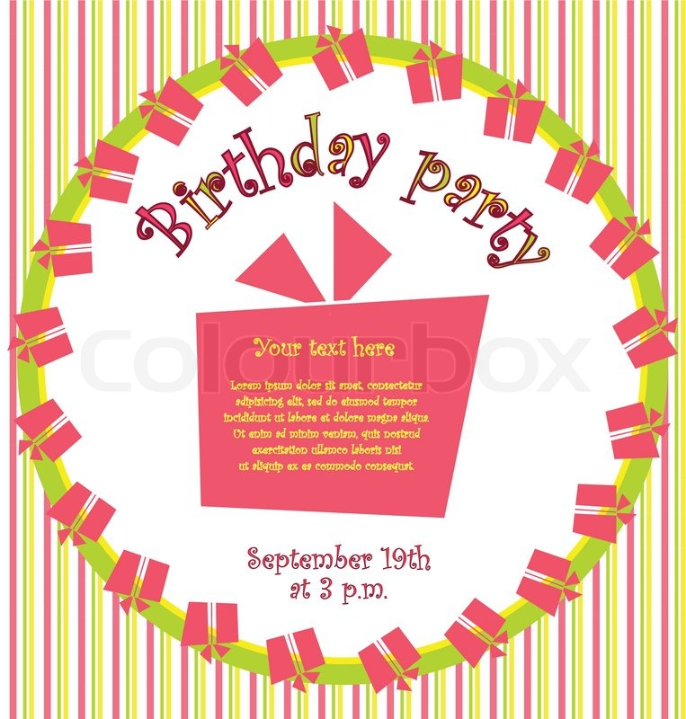Illustration of birthday card with gift on white background vector colorful birthday invitation card with gift boxes in circle and stripes on background stopboris Gallery