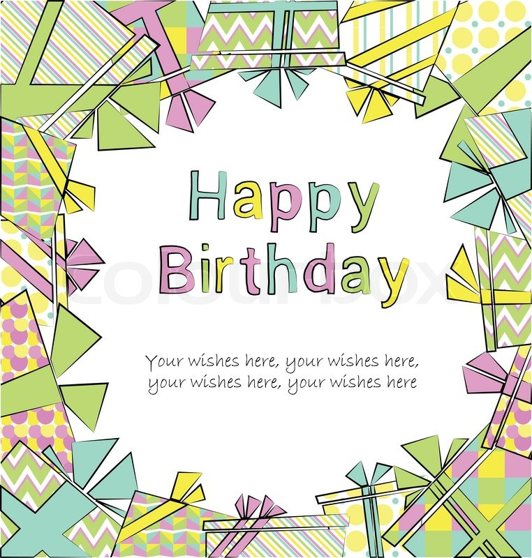 Vector Colorful Birthday Card With Gift Boxes In Different Wrappings