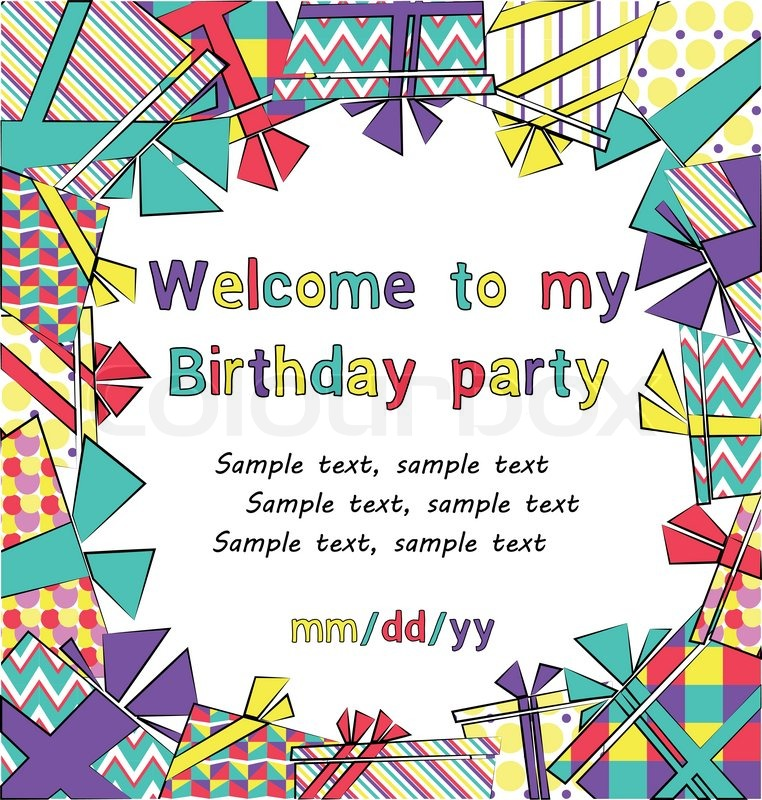 Vector colorful birthday invitation card with gift boxes in ...
