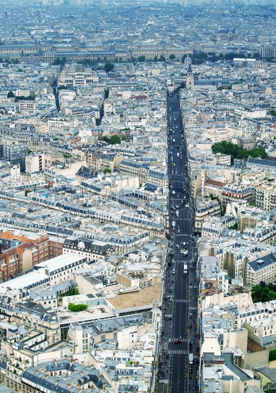 Aerial view of Paris street and buildings, stock photo