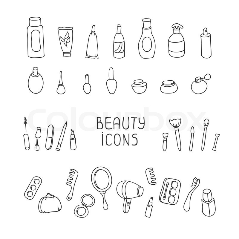 Set of vintage cosmetics elements and beauty products icons ...