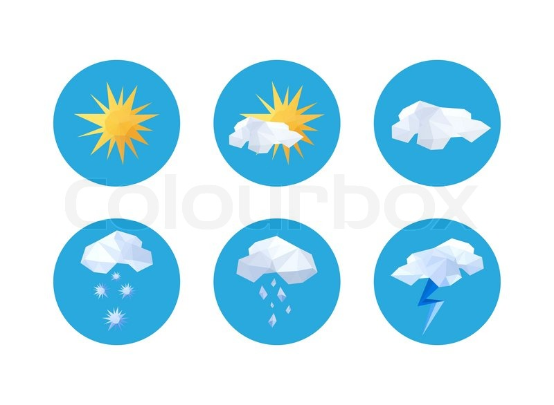 Collection Of Origami Weather Symbols Stock Vector Colourbox