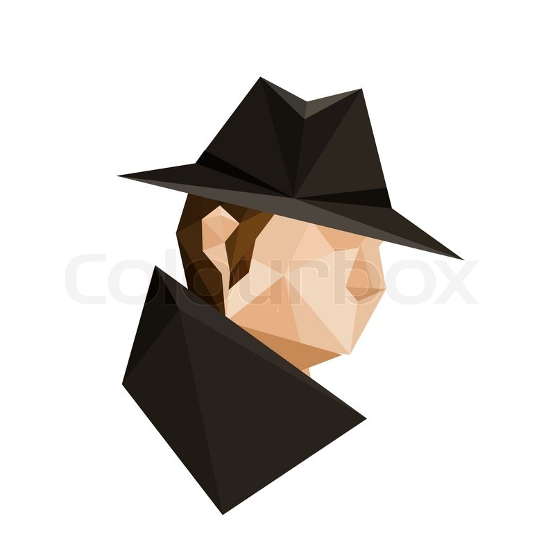 Illustration Of Abstract Origami Spy Character Isolated On White