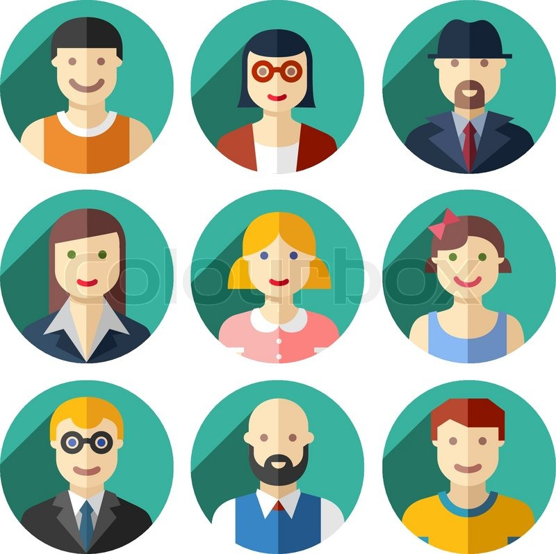 Vector Flat Round Avatar Icons Faces Stock Vector
