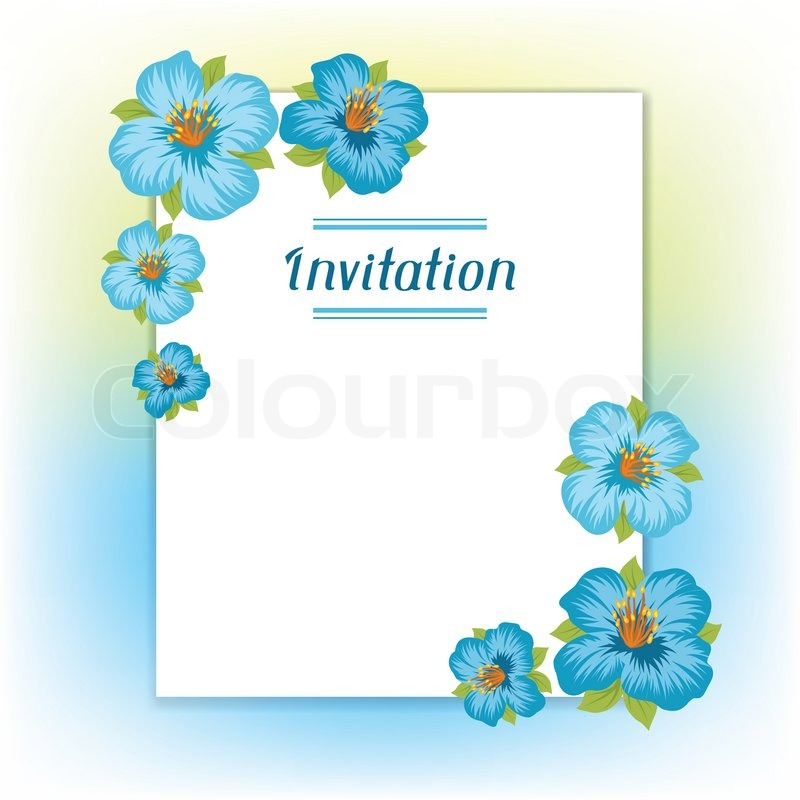 Design of invitation card with pretty stylized flowers Stock