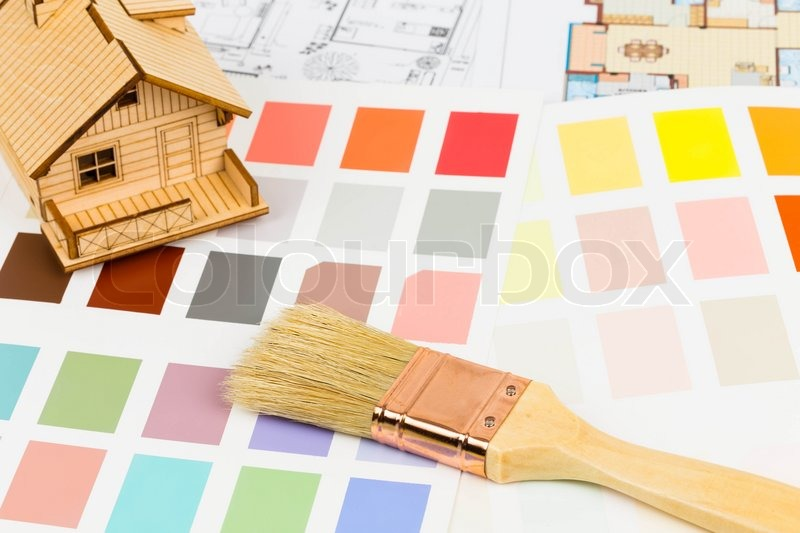 Paint Color Sample Catalog With Brush Drawing And House Model Stock Photo Colourbox
