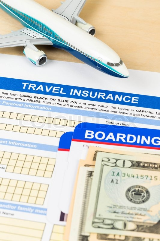 Travel insurance application form with plane model boarding pass travel insurance application form with plane model boarding pass and banknote stock photo colourbox thecheapjerseys Choice Image