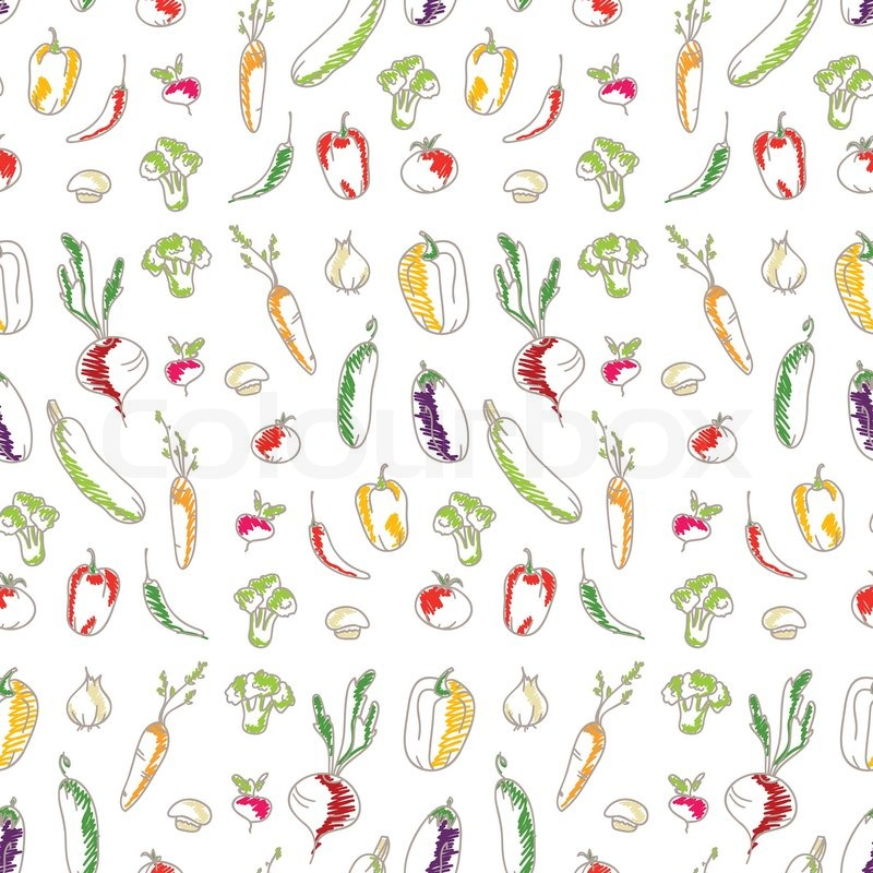 Cartoon vegetable garden background garden vector vegetable - Seamless Kitchen Background Of Vegetables Beautiful
