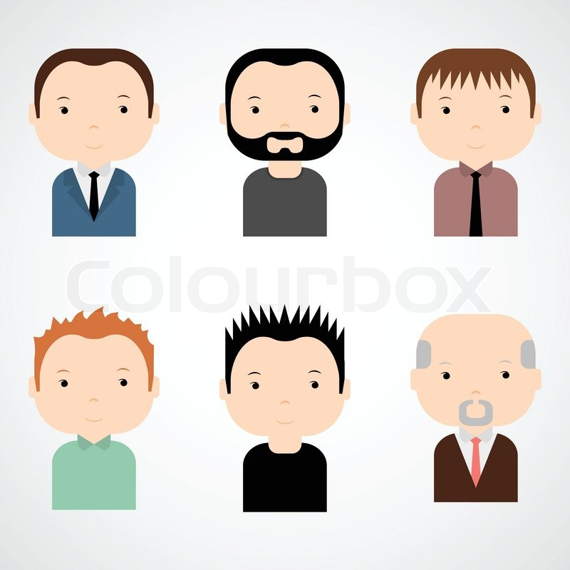 Set Of Vector Colorful Funny Avatars And Characters In Flat