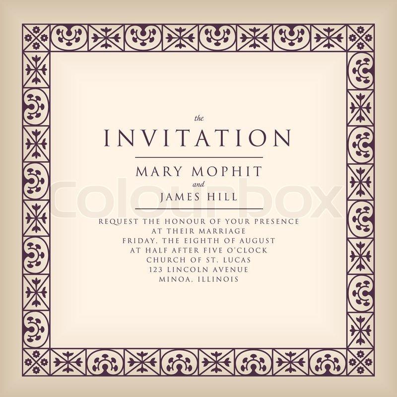 einladung mit rahmens im renaissance-stil. vorlage rahmen, Einladungen