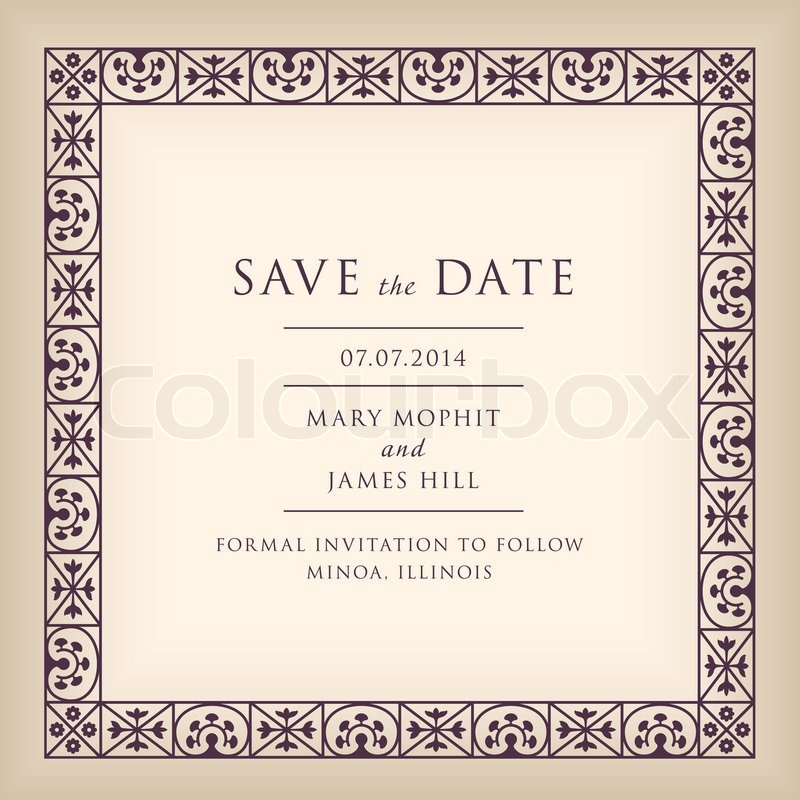 Wedding save the date with border frame in renaissance style wedding save the date with border frame in renaissance style template framework with vintage background artwork stock vector colourbox stopboris Choice Image