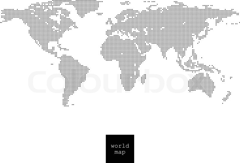 Pixelated world map isolated on white | Stock Vector | Colourbox