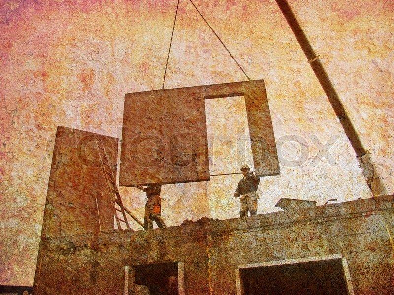 Der Traum von Bau mein Haus - retro. | Stock Bild | Colourbox