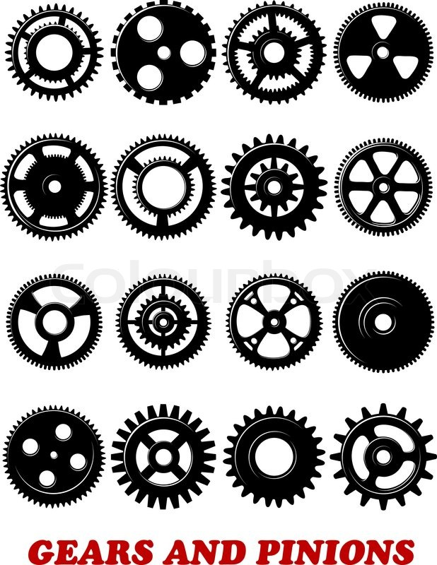 Gears and pinions symbols set isolated on white background for technology, industrial ...