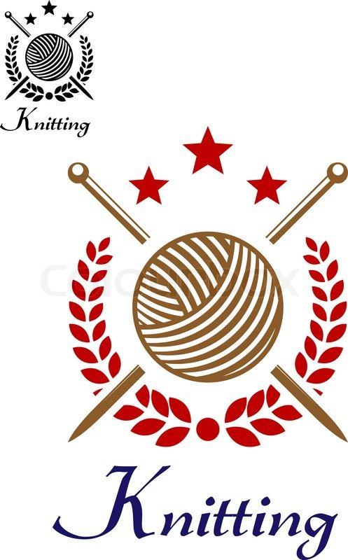 hand knit or knitting retro emblem with yarn ball sticks