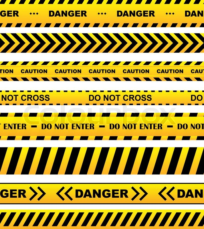 yellow security warning tapes set with text caution do not cross