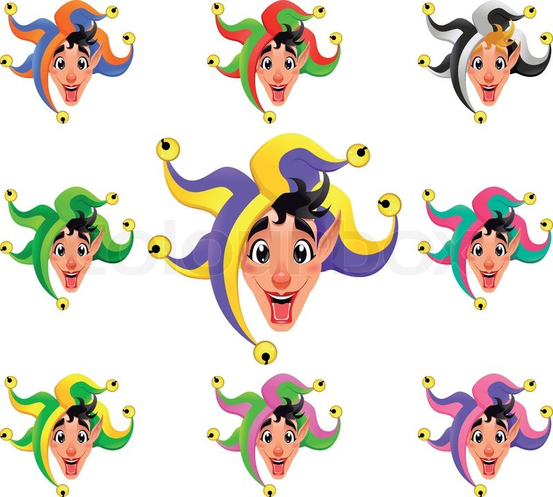 Joker Faces In Different Colors Cartoon Vector Isolated Objects