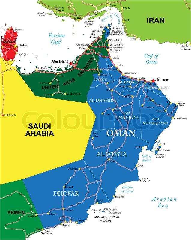 Karte Oman Kostenlos.Oman Karte Stock Vektor Colourbox