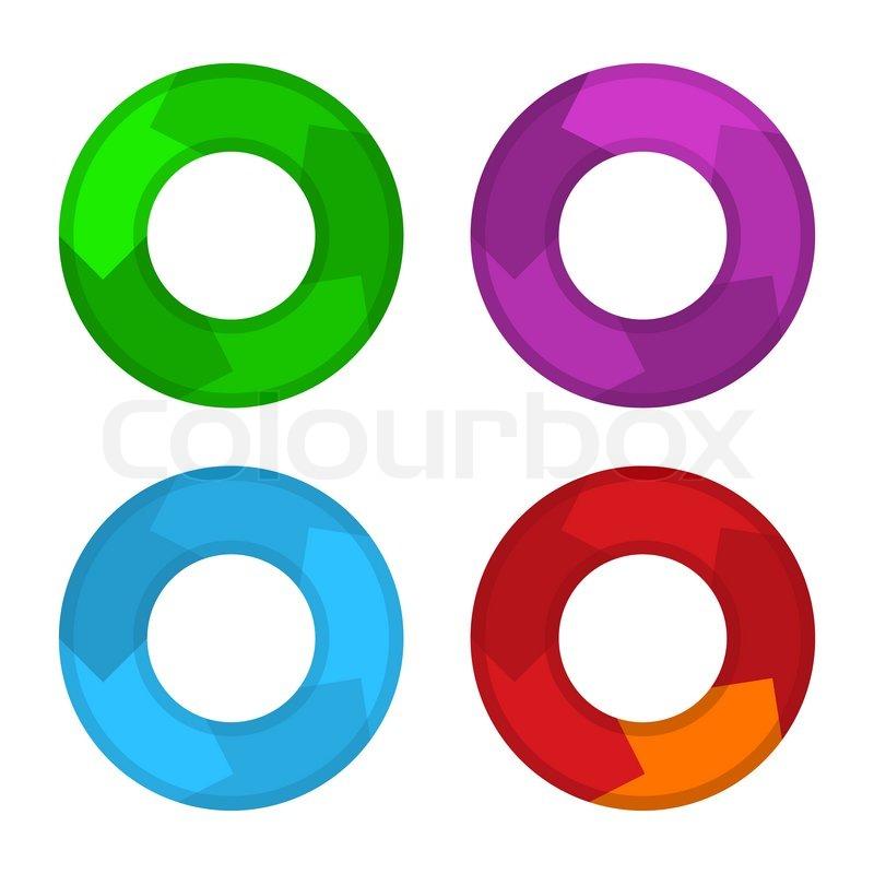 circle color diagram set in flat design style vector stock rh colourbox com