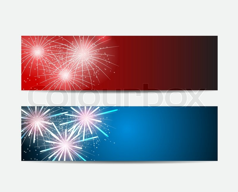 glossy fireworks website header and banner set background vector illustration eps10 stock vector colourbox