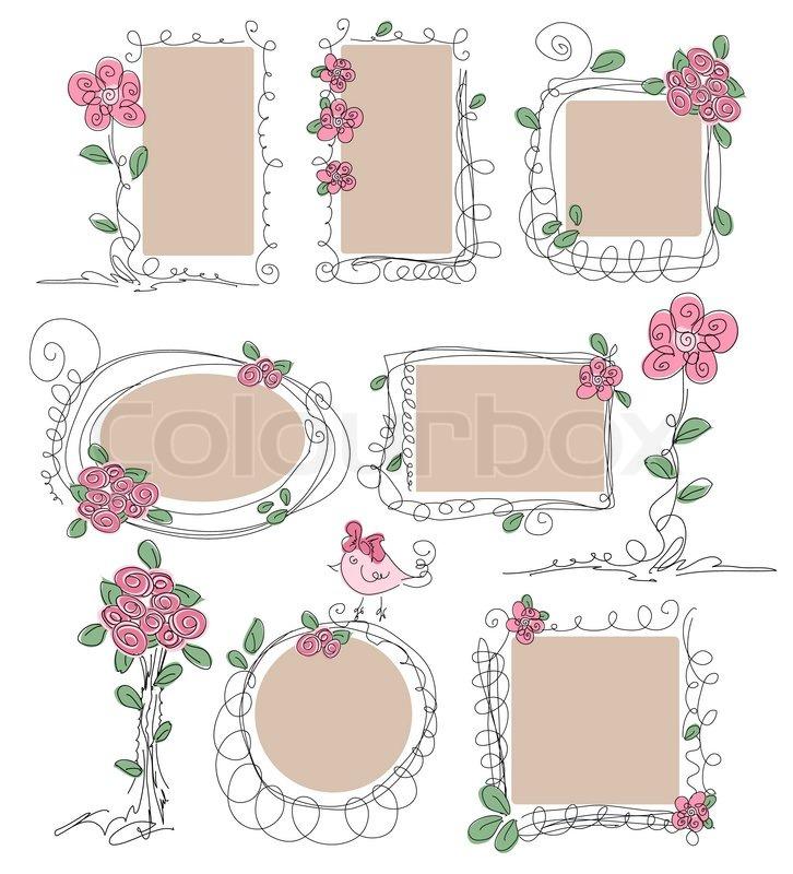 Satz von Vintage Rahmen mit Blumen | Vektorgrafik | Colourbox