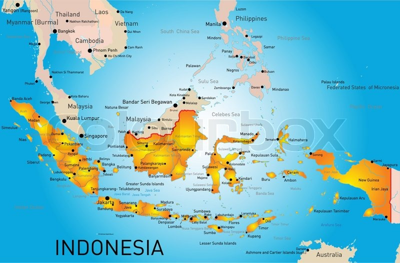 Indonesia Country Vector Color Map Stock Vector Colourbox
