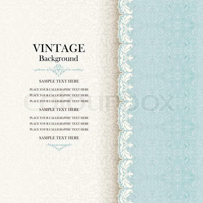vintage background, antique invitation card, blue greeting with, Powerpoint templates