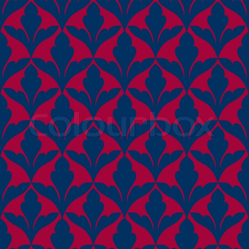 Damask Beautiful Background With Rich Blue And Red Luxury