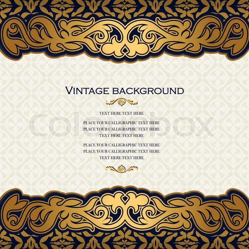 Vintage floral background, antique style invitation card, royal greeting with rich ornament ...