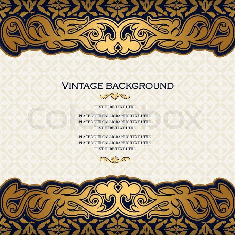Vintage Blumen Hintergrund, Antikstil Einladungskarte, Royal mit ...