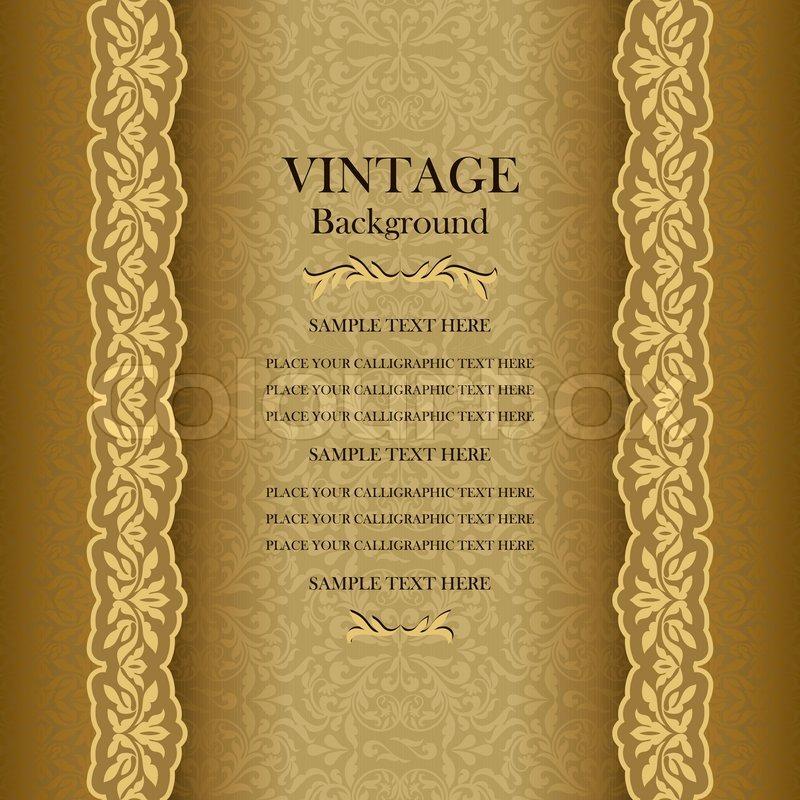 Vintage gold background, elegance antique, victorian, floral ...