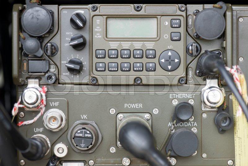 Military communication control panel, stock photo
