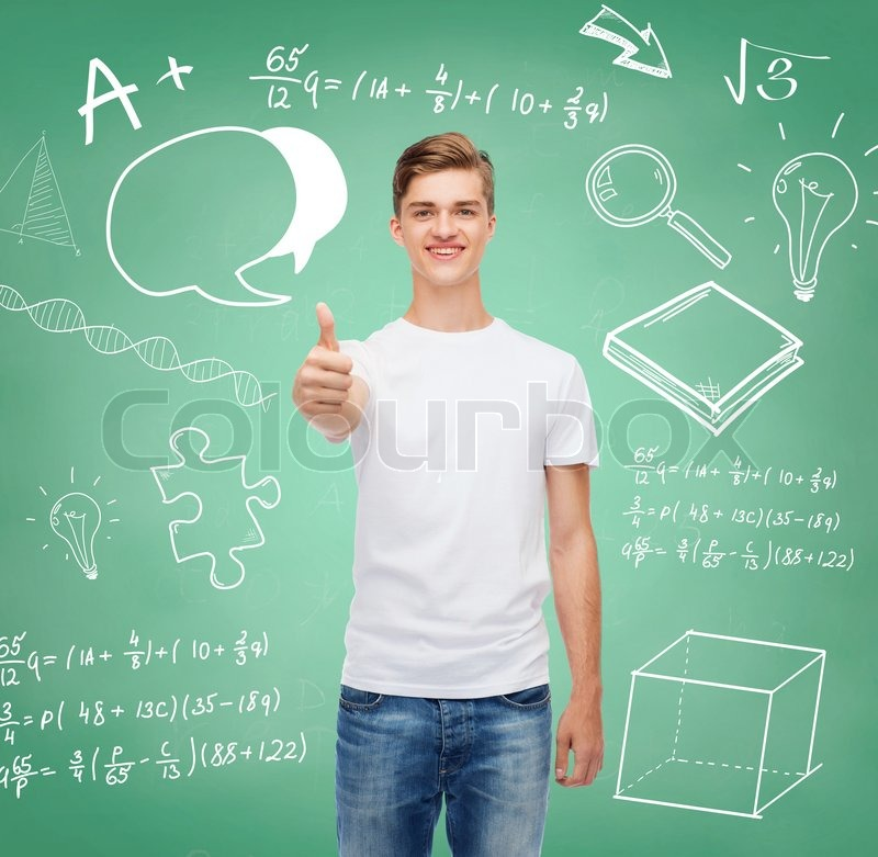 Gesture, advertising, education, school and people concept - smiling young man in blank white t-shirt showing thumbs up over green board background with doodles, stock photo
