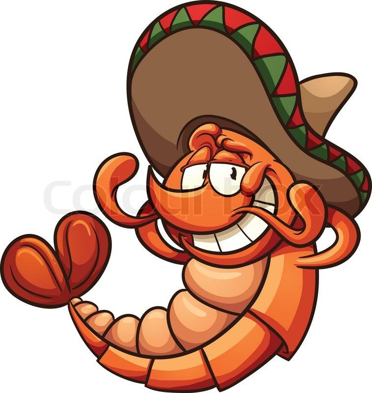 Cartoon Characters Mexican : Cartoon mexican shrimp relaxing vector clip art