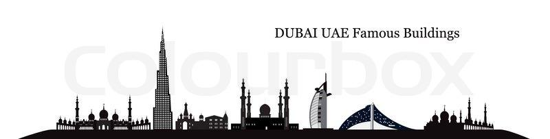 Silhouette Famous Buildings Vector Illustration Eps10