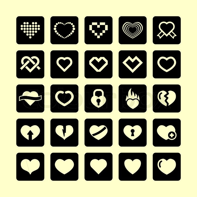 Heart love emotions passion valentine romantic icon set, vector