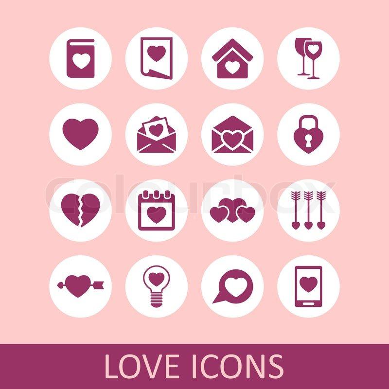 Heart love relation feeling emotion romance icon set, vector